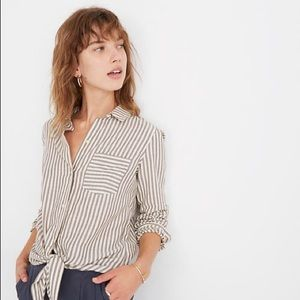Madewell Tie Front Shirt In Maitland Stripe NWT